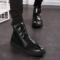 秋季休闲鞋男真皮高帮皮鞋英伦男士时尚马丁靴男靴子韩版潮流短靴