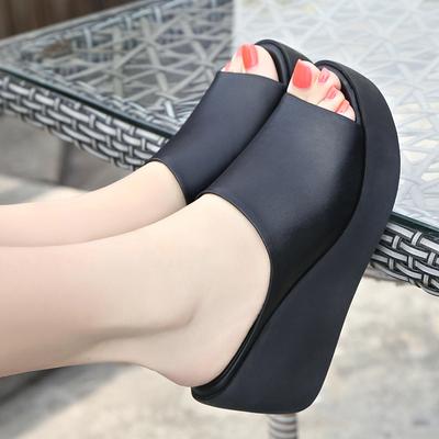 雪地意尔康2019夏季新款真皮凉拖鞋女坡跟高跟鱼嘴厚底时尚女凉鞋