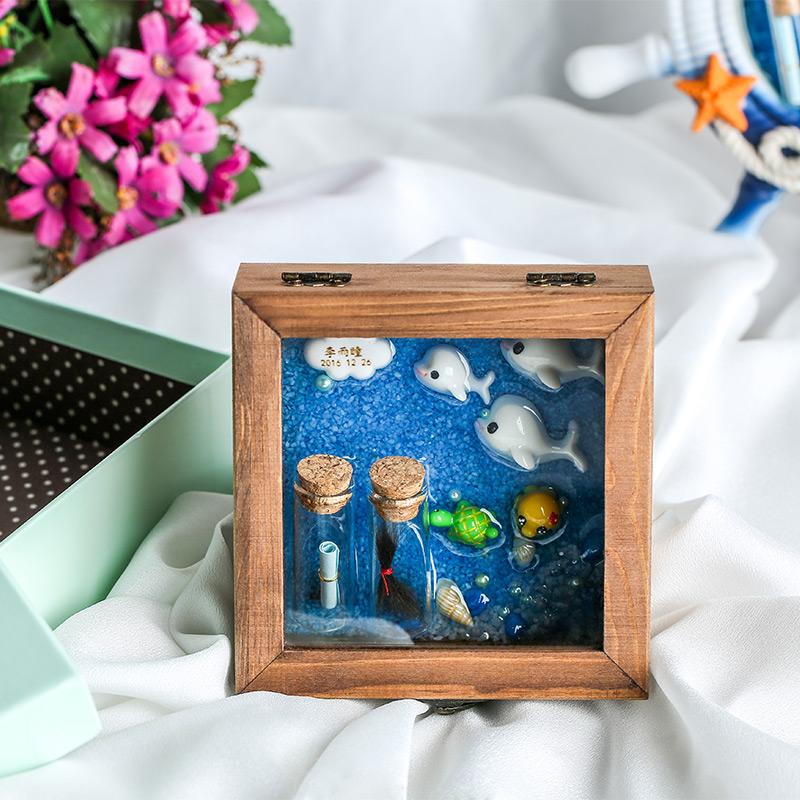 婴儿胎毛纪念品diy制作自制胎发收藏盒脐带男女宝宝生肖狗保存盒