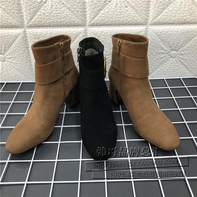 品牌撤柜2018冬新款时尚羊绒皮鞋圆头金属扣粗跟女短靴SS84116072