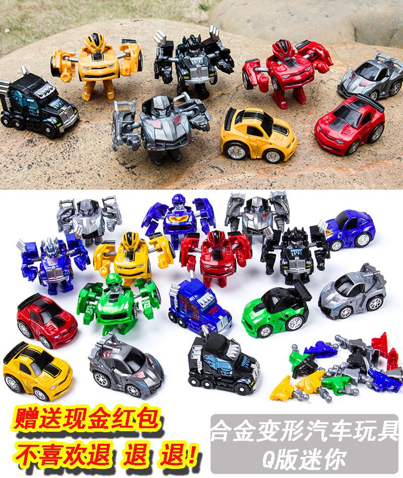 小机器人金刚5迷你大黄蜂手动口模型套装手办男孩4岁变形汽车玩具