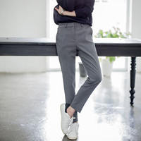 Korean small feet nine points suit pants women spring and summer and autumn Slim thin suit trousers loose straight tube pants students