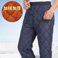 Winter clothing new inside and outside wear plus velvet thickening middle-aged men's cotton pants elderly XL warm long pants men