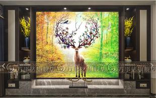 现代艺术玻璃电视背景墙屏风隔断玄关过道钢化深雕花工艺森林麋鹿