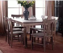 欧式新古典实木餐桌椅做旧复古松木餐桌高档家用圆腿造型长方桌子