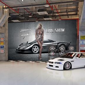 跑车3D汽车主题装饰壁画美容改装店装修设计背景酒吧壁纸个性墙纸