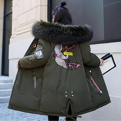 反季清仓大码女装冬装加厚棉服胖妹妹加肥加大连帽大毛领棉衣外套