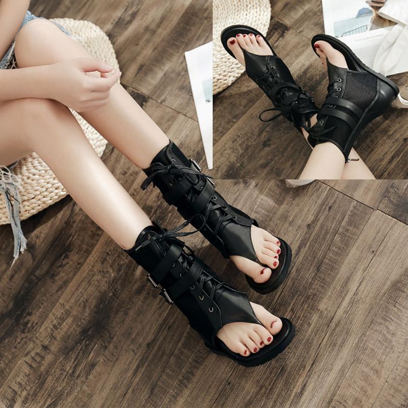 网靴平底凉鞋2018夏罗马新款高帮拉链性感黑色网纱中筒镂空短靴