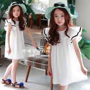 夏季女童纯棉连衣裙中长款中大童韩版沙滩裙夏天儿童白色短袖裙子