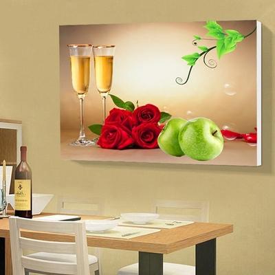 现代简约餐厅装饰画单幅厨房壁画酒杯花卉无框画清新水果墙画挂画评价好不好