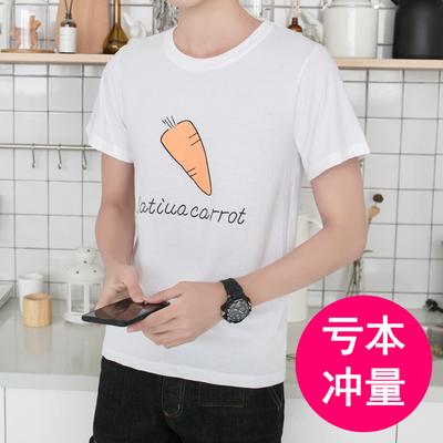 夏季男士短袖t恤白色圆领宽松韩版半袖T恤青少年学生休闲上衣潮流