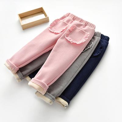 婴儿保暖裤秋冬儿童灯芯绒加厚长裤男女童加绒裤子宝宝休闲裤棉裤