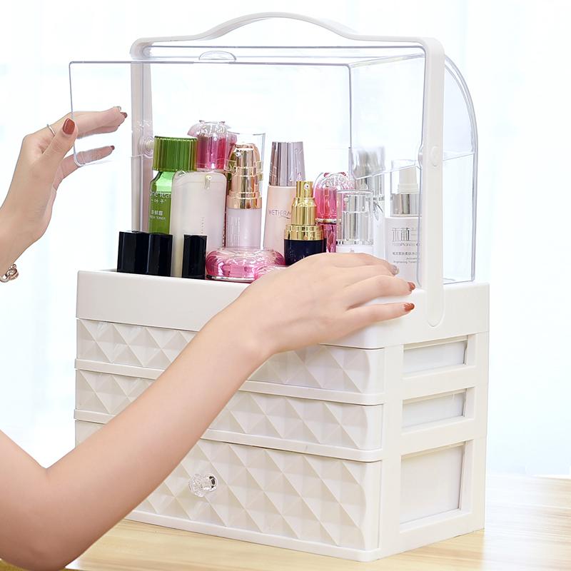 网红化妆品收纳盒透明防尘抽屉式压克力护肤品桌面梳妆台整理箱架