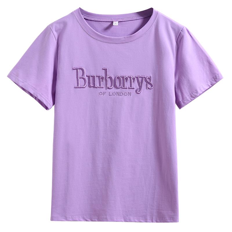 【2件69】t恤女短袖2019新款韩版宽松大码胖mm紫色纯棉体恤上衣夏