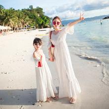 母女装 夏装 2019新款 亲子装 海边度假长裙母女裙子儿童沙滩裙连衣裙