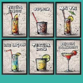 奶茶店甜品店果汁饮料装饰画海报餐厅壁画挂画鸡尾酒墙画有框画