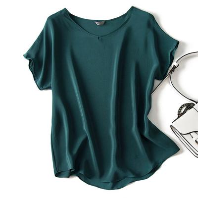 真丝短袖t恤女 2019夏季纯色V领短袖真丝衬衫 宽松款桑蚕丝上衣