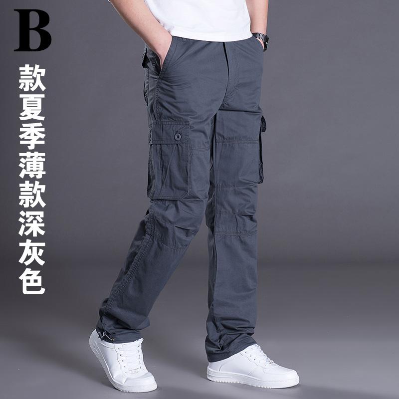 春夏薄款 男士户外休闲运动裤宽松多口袋直筒工装裤男长裤子 薄