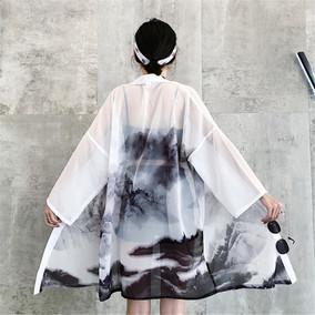 日式羽织和风山水画开衫汉服外套男女古装改良道袍中长款防晒衣夏