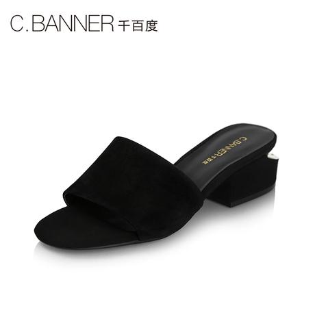 C.BANNER/千百度夏新品商场同款绒面粗跟女鞋凉拖鞋A8386504商品大图