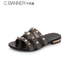 千百度女鞋夏季商场同款低跟珍珠凉鞋外穿休闲平底拖鞋A8301901图片