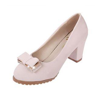 单鞋女圆头粗跟工作鞋黑色高跟鞋职业女鞋中跟浅口蝴蝶结舒适磨砂