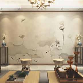 现代新中式壁纸电视沙发背景墙鲤鱼荷花壁画手绘抽象水墨墙纸墙布