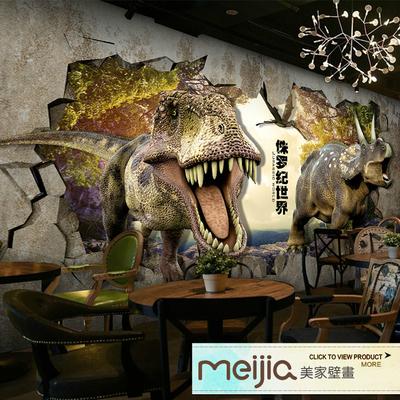 3D立体恐龙世界墙纸侏罗纪男孩儿童房壁画主题乐园餐厅科幻壁纸