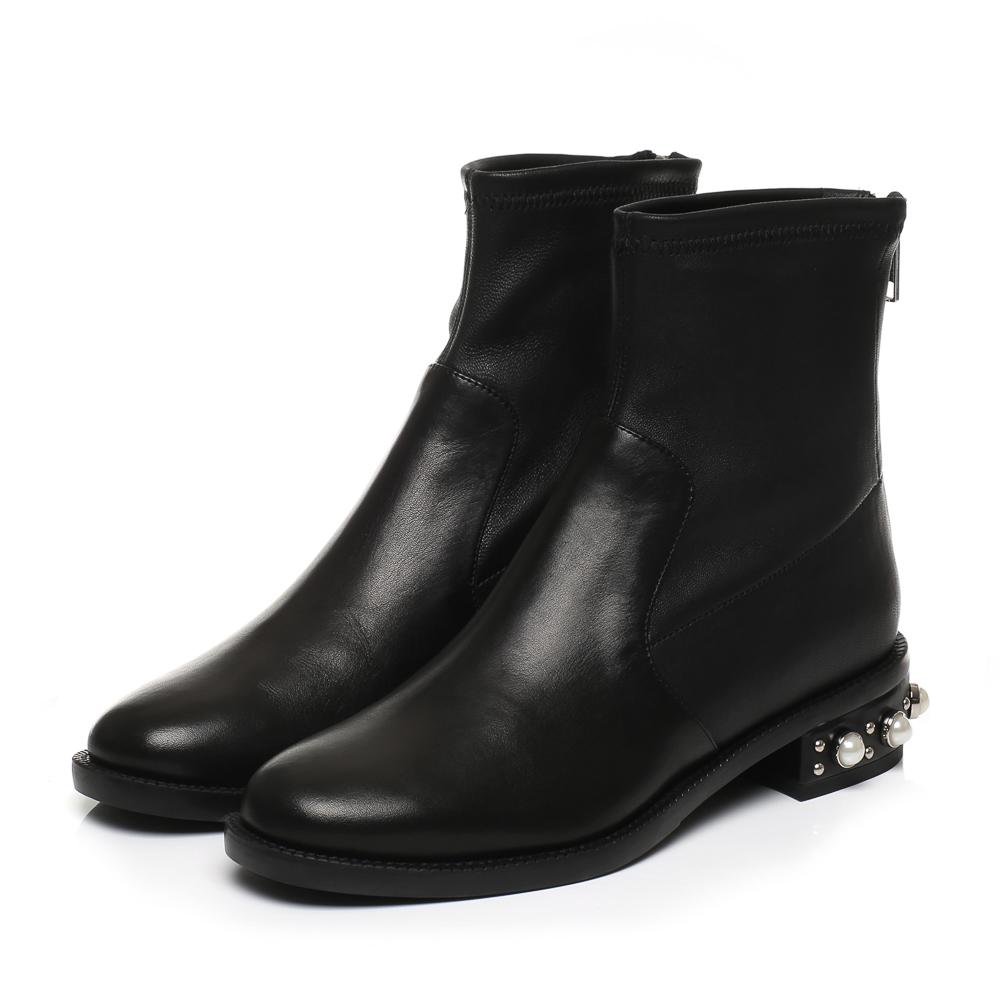 9RA93秋冬款珍珠铆钉后拉链女短靴2017专柜正品国内代购思加图
