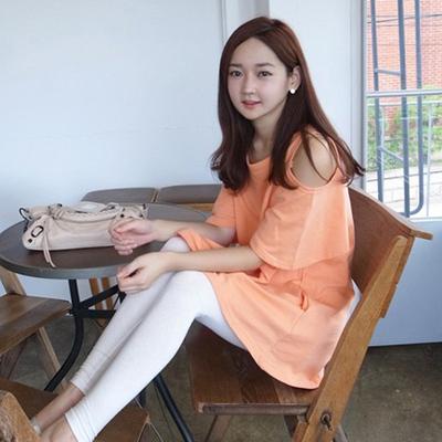 韩版孕妇装T恤中长款露肩宽松大码短袖半袖女打底衫纯棉上衣夏季