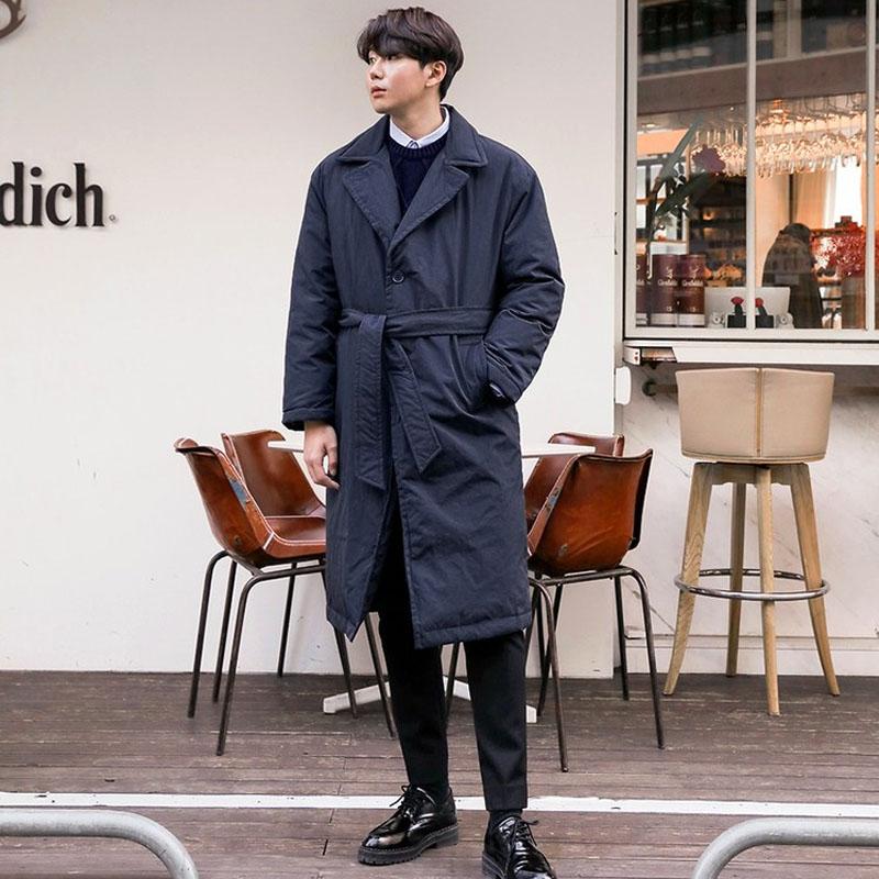 韩国代购系带中长外套潮Mutnam正品2018冬装新款男保暖风衣羽绒服