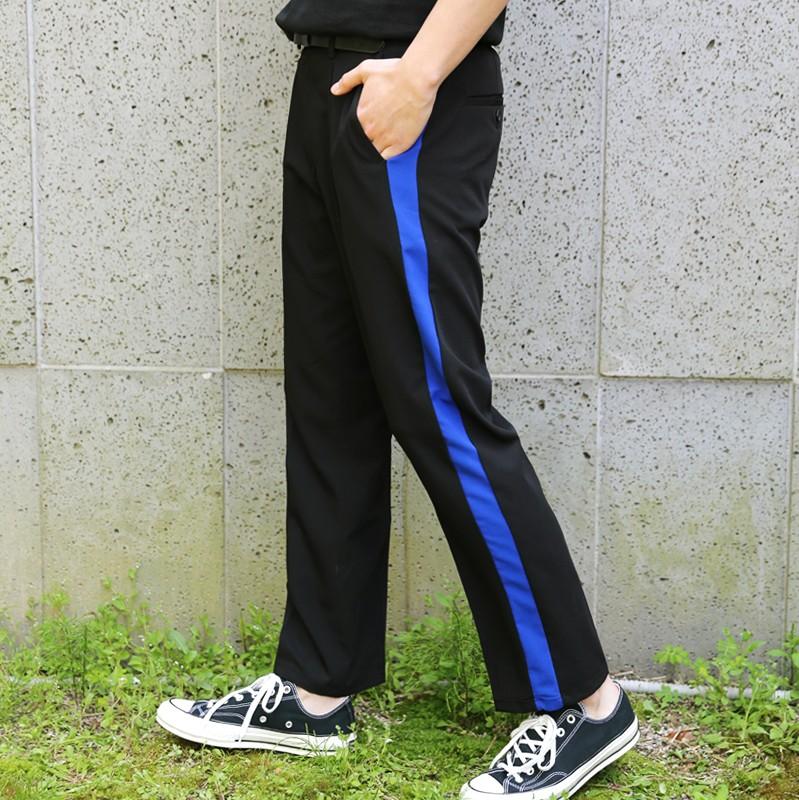 韩国代购正品边线配色长裤时尚起义2018夏季新款时尚长裤男728422