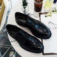 【帽子先森】强大的感觉黑色真皮雕花皮鞋男小厚底欧美低帮潮鞋子