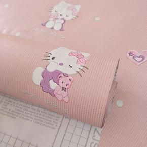 kt猫墙纸自粘卧室韩国壁纸自粘温馨女孩防水清新粉色浪漫韩式10米