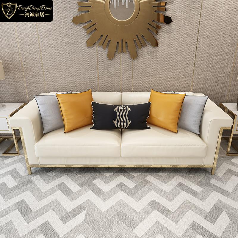小户型真皮沙发123组合简约现代