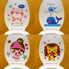 Creative Decoration Toilet Toilet Toilet Toilet Lovely Toilet Cover Sticker Cartoon Waterproof Tile Wall Sticker