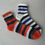 日本时尚老牌粗线全棉户外透气吸汗大横条运动休闲春夏短筒男袜子