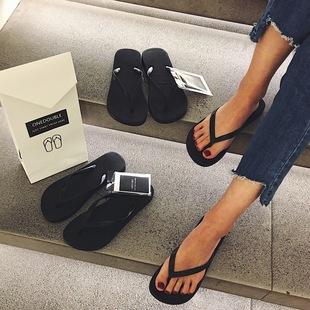 新款 女夏外穿防滑平底跟沙滩鞋 onedouble黑色人字拖女夹脚凉拖鞋