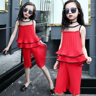 女童雪纺套装夏装2017新款中大童淑女儿童夏季时尚无袖两件套韩版