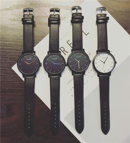 手表男学生韩版简约潮流时尚休闲普通黑色皮带男表青年男生石英表