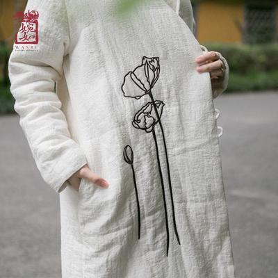 民族风外套女秋装棉麻棉衣棉袄刺绣复古中国风女装文艺禅意禅茶服
