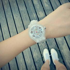学生手表女中学日韩国版exo简约潮流运动防水透明白色原宿风腕表
