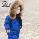 Children seamless jumpsuit big hair collar plus thick male and female baby out to wear baby down jumpsuit