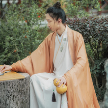 Back to the Han and Tang Dynasties and into the Song Hanfu Men's Chinese Long-Weared Dressed Jacket, Perpetual Skirt, Collapsed Long-Shirt Suit in Summer