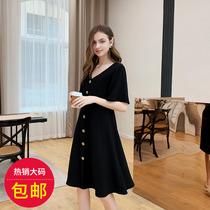 夏大大胖mm法式心机时髦夏季2019新款显瘦高腰气质洋气黑色连衣裙
