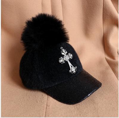 韩国秋冬季字母亮片平沿鸭舌棒球帽韩版羊毛保暖潮女鸭嘴帽子