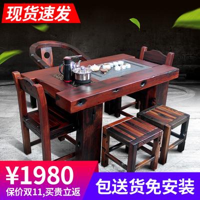 老船木茶桌椅组合中式船木家具阳台客厅泡茶台实木茶艺桌功夫茶几