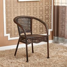 藤椅三件套阳台桌椅户外休闲简约室外藤椅子靠背椅铁艺小茶几组合