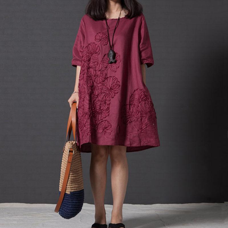 长袖刺绣a字连衣裙