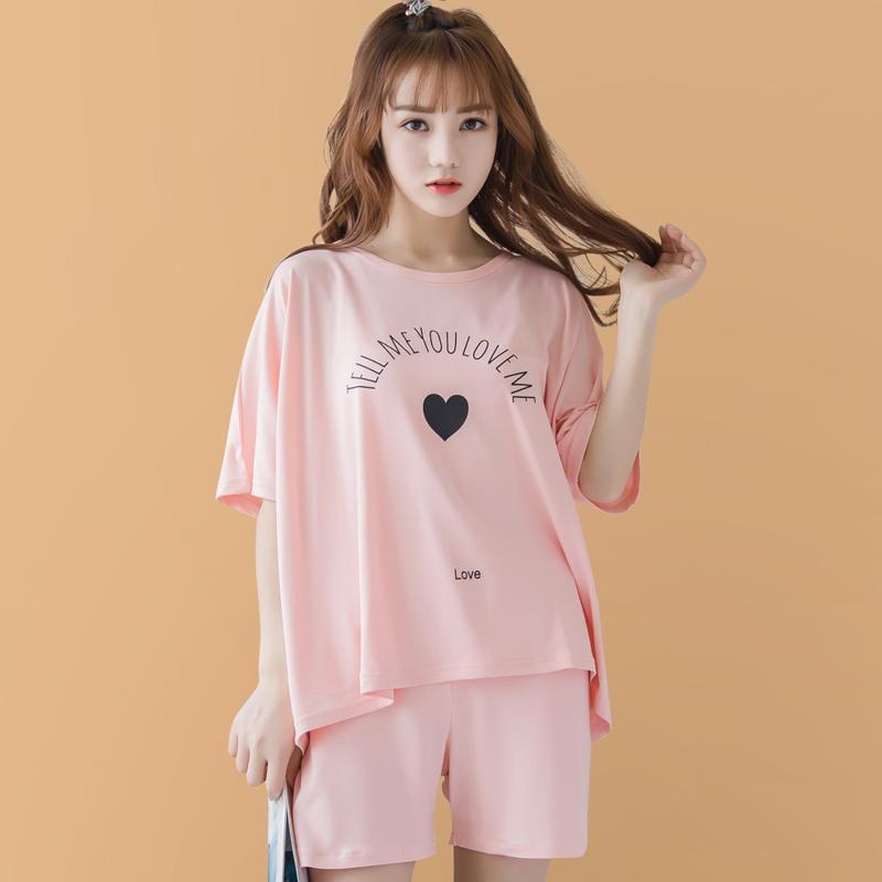 女短袖粉色女睡衣